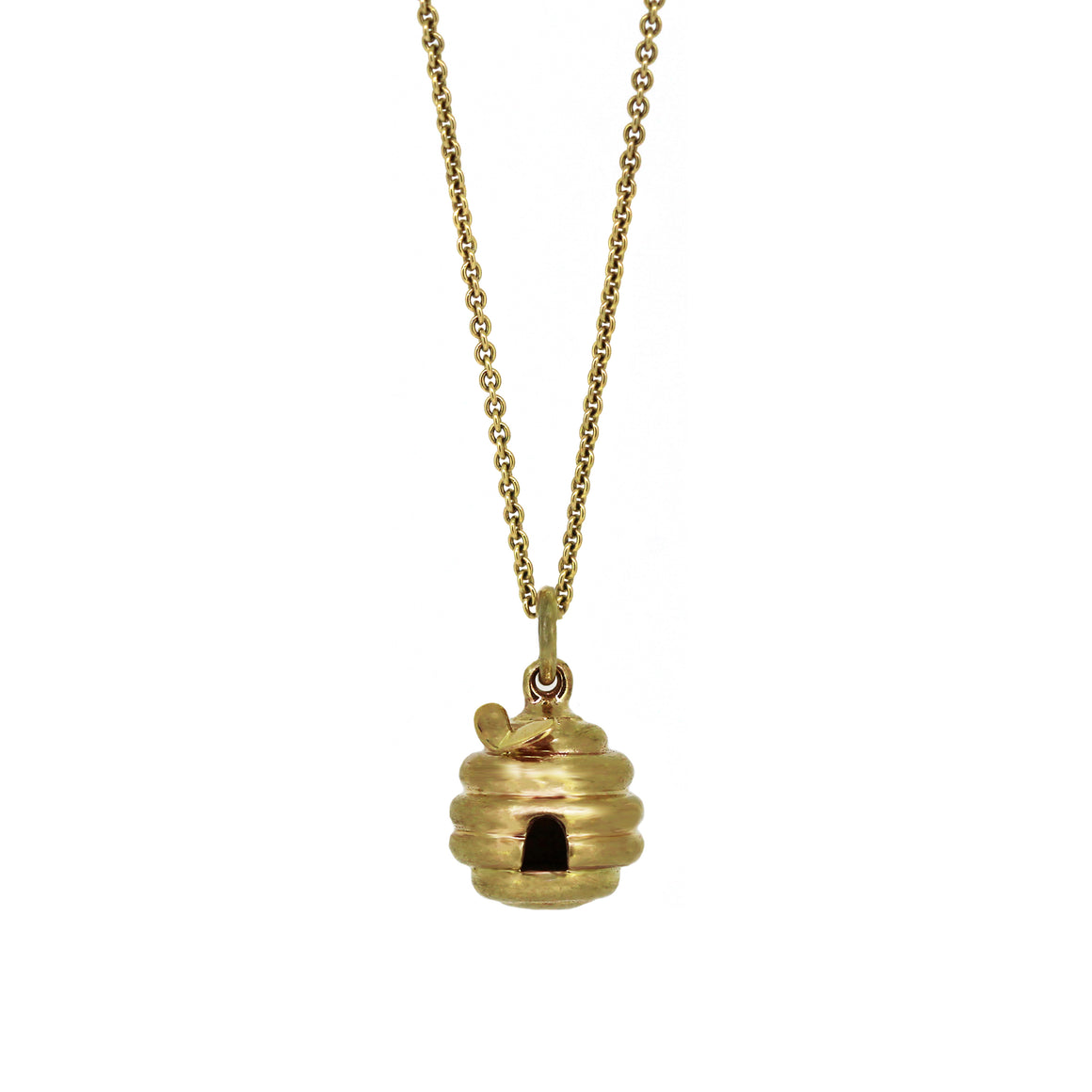 Gold Beehive Pendant with Bee