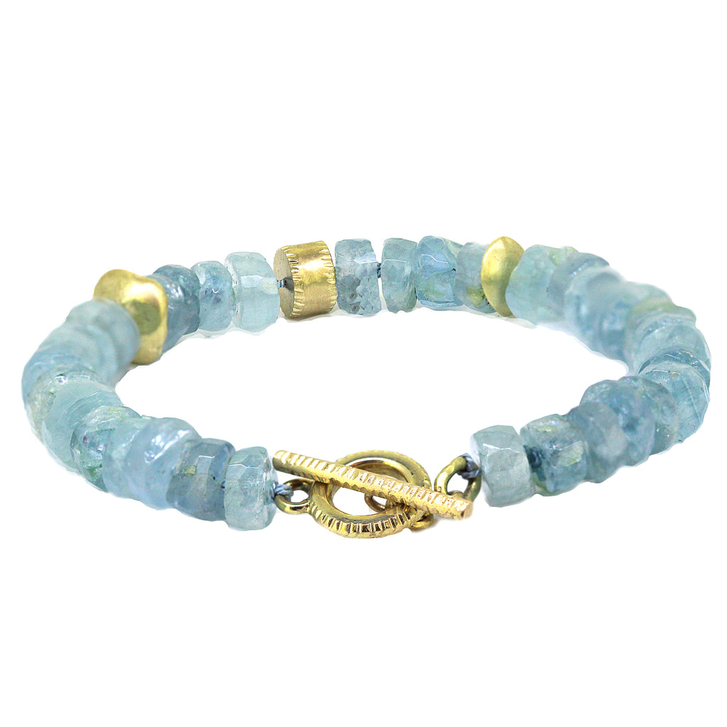 Naxos aquamarine and gold bracelet