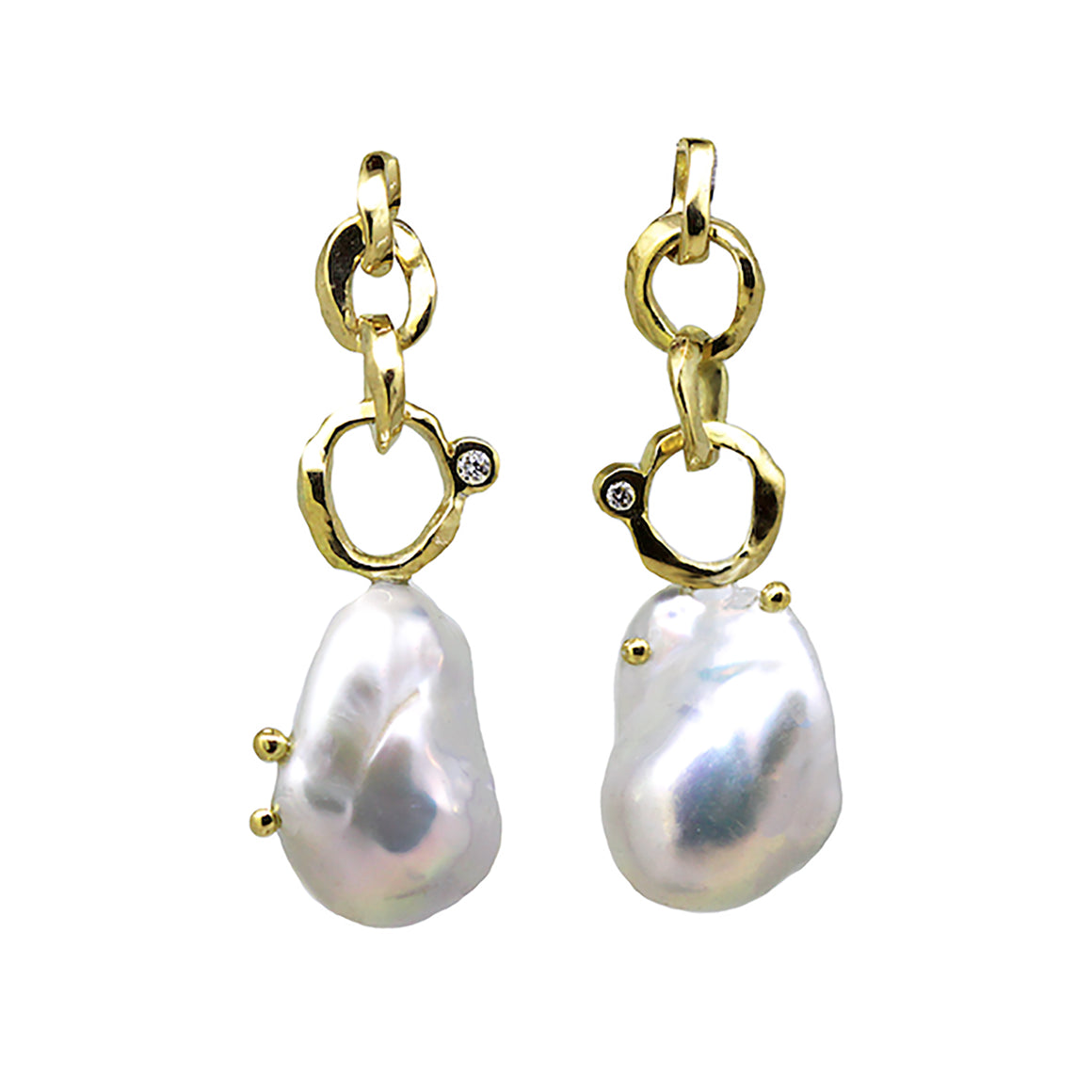 Anchor Pearl and diamond earrings