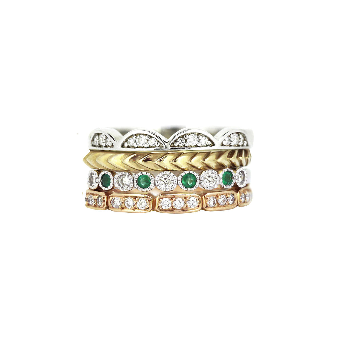 Collection of gemstone diamond and gold stack rings to form the Barcelona stack