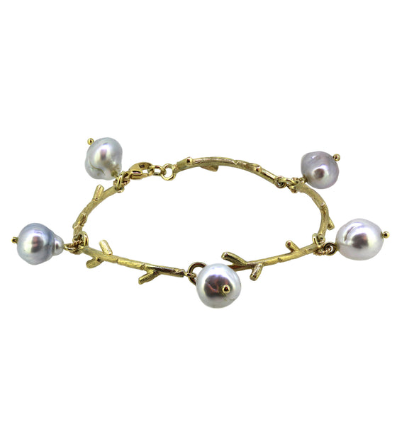 Coral Branch Gold and  Pearl bracelet.