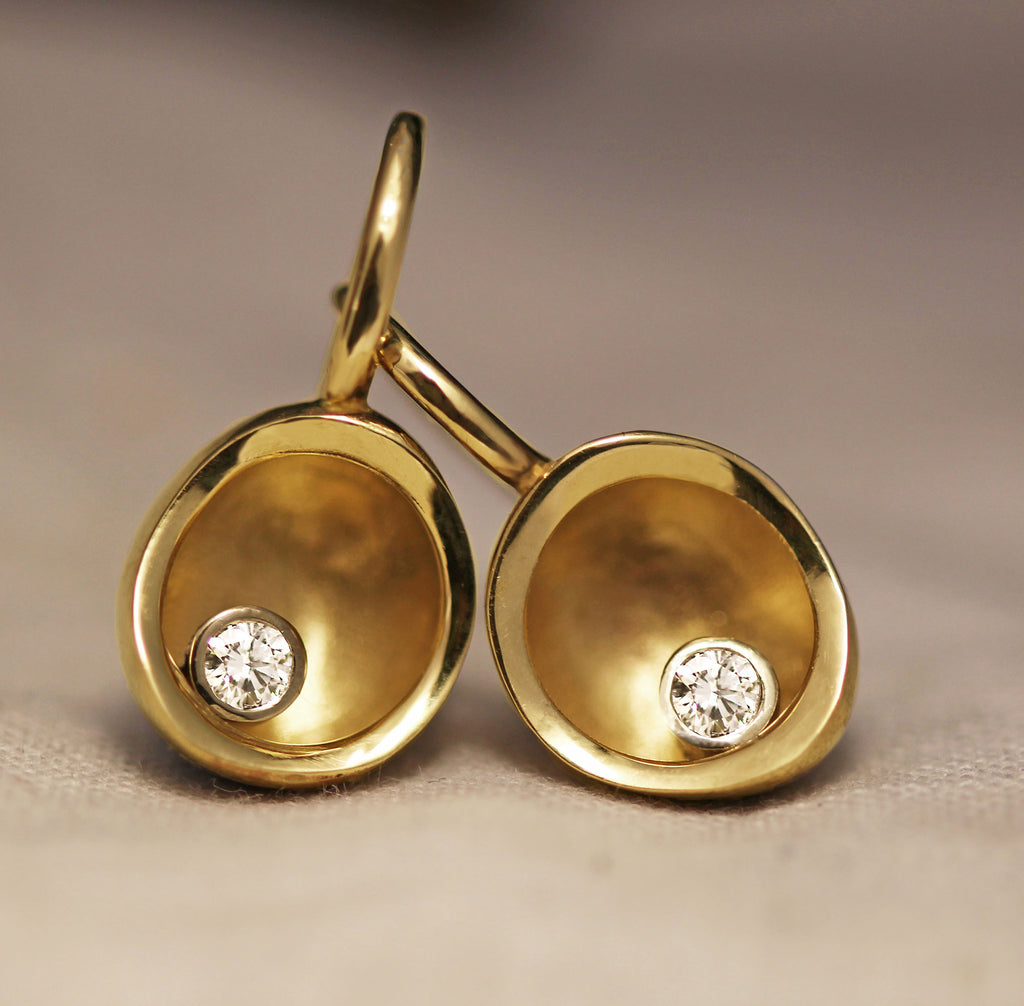 Diamond bowl drop earrings in gold
