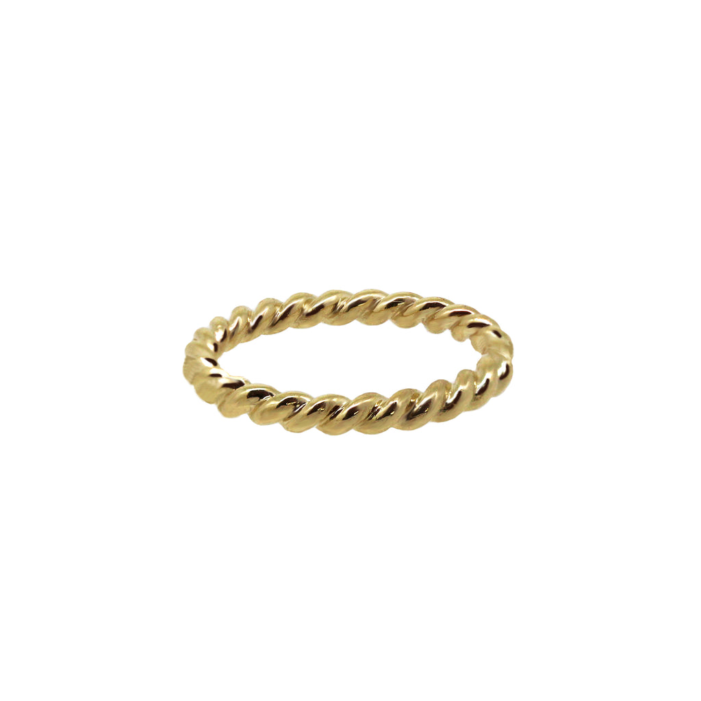 Large Twist Gold Stack Ring