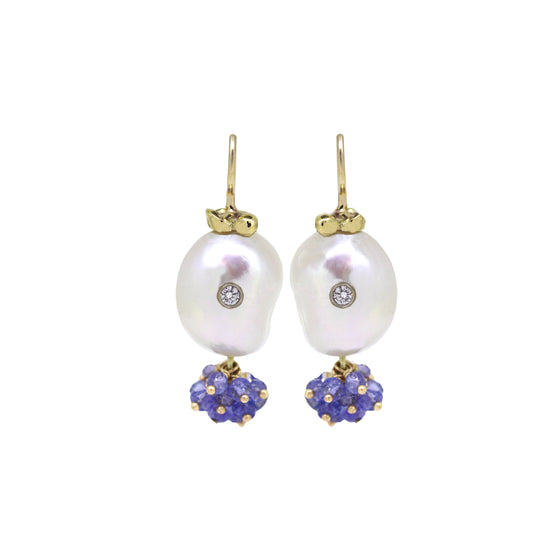 Jellyfish gold pearl and Tanzanite earrings