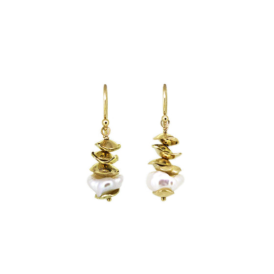Keshi Mollusc pearl and gold drop earring