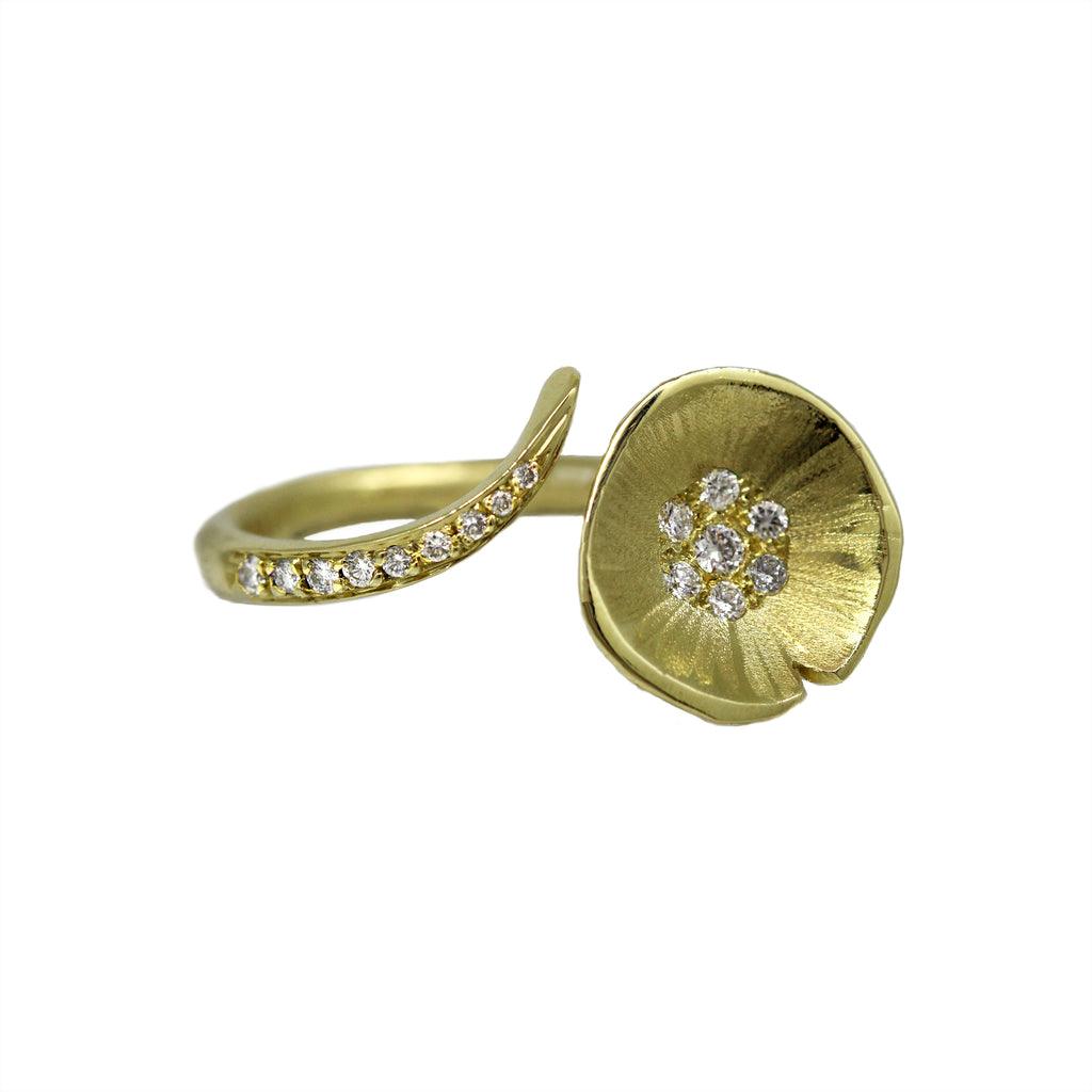 Gold Lilypad Floating Open Ring