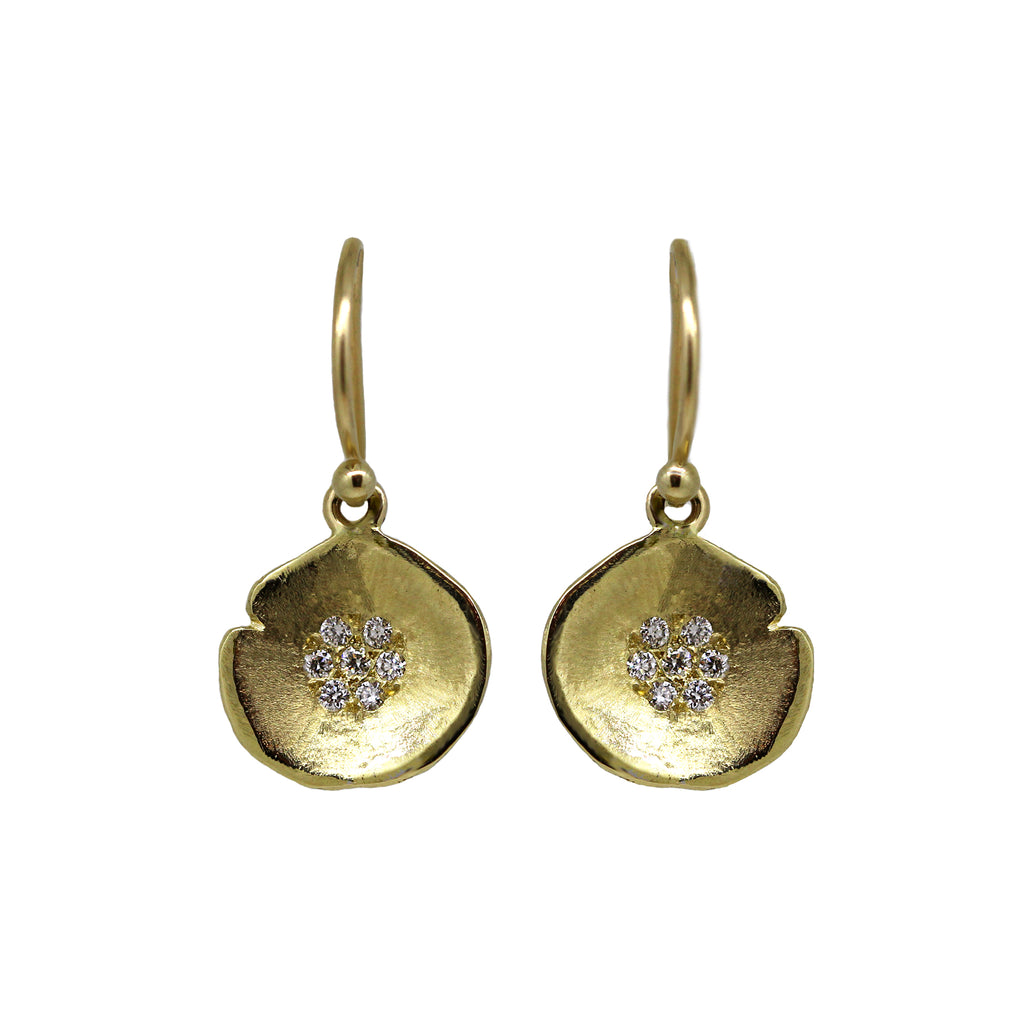 Gold Lilypad Diamond Drop Earrings
