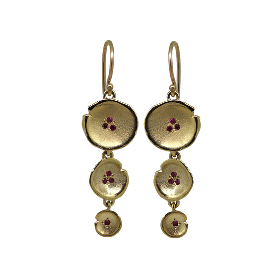 Yellow Gold Pink Sapphire Tiered Lilypad Earrings