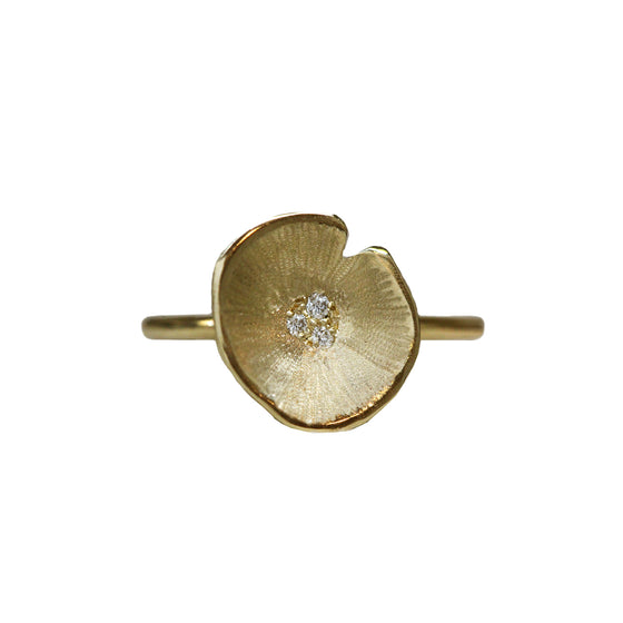 Gold Large Lilypad Diamond Ring