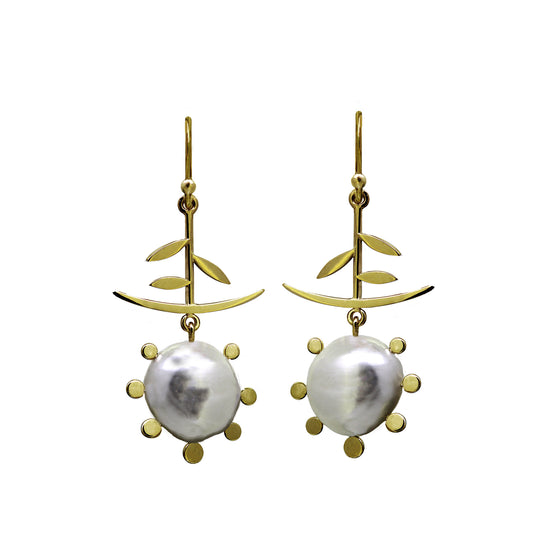 Chinoiserie pearl earrings