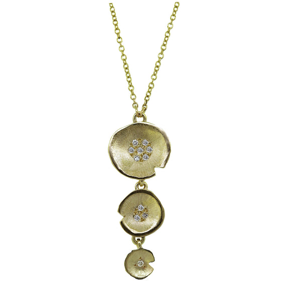 Gold Tiered Lilypad Diamond Pendant