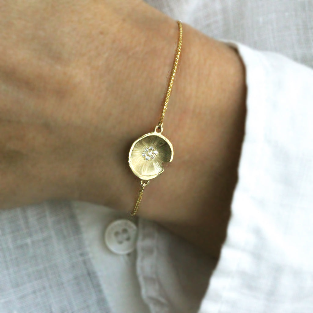 Lilypad Diamond Gold Bracelet