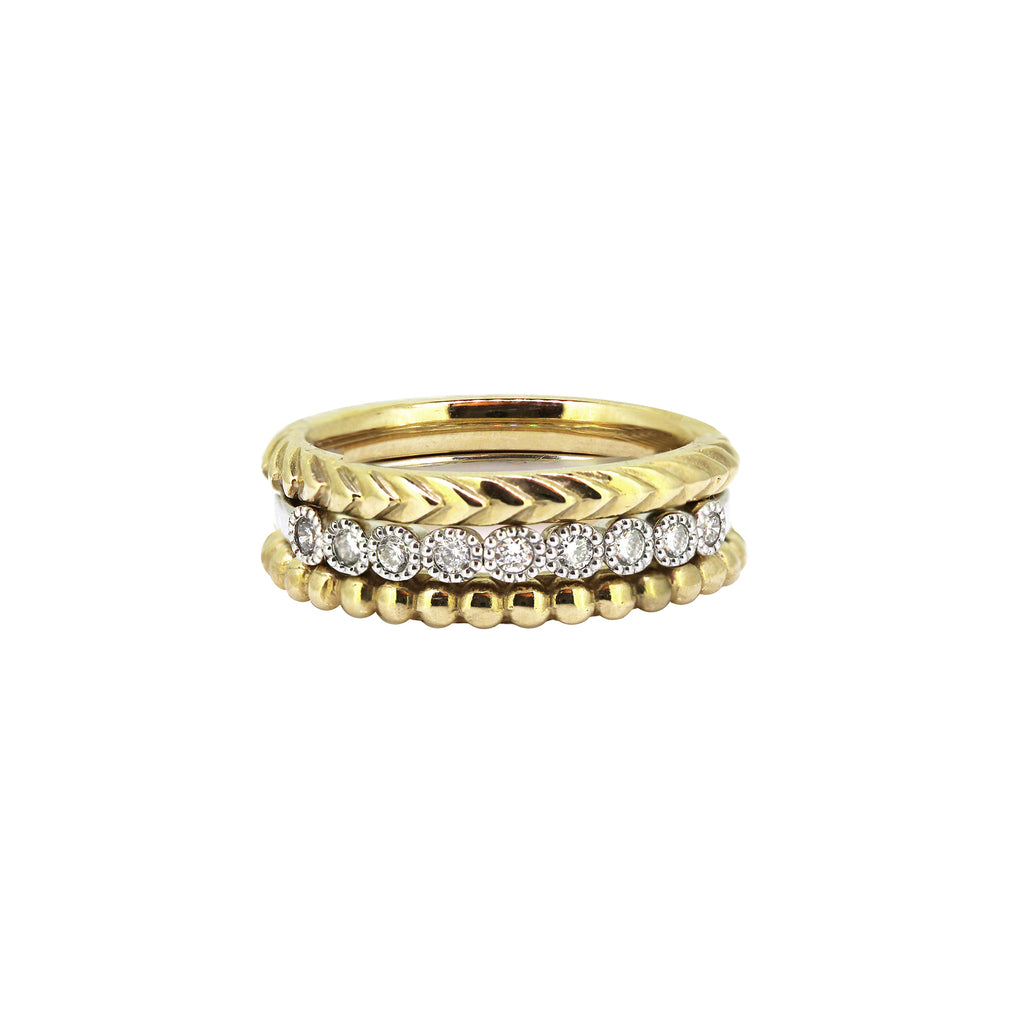 Milan gold and diamond stack.