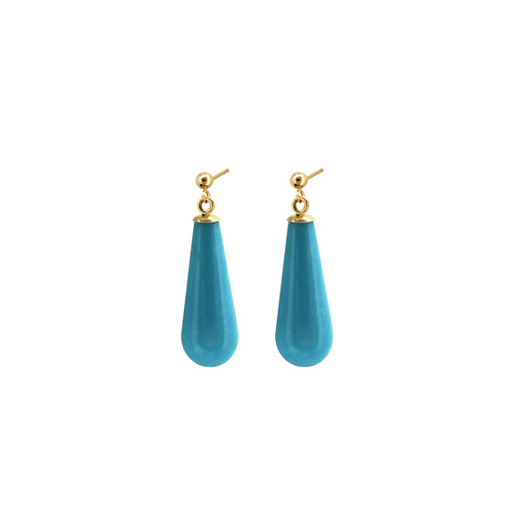 Petite Turquoise drop earrings in gold