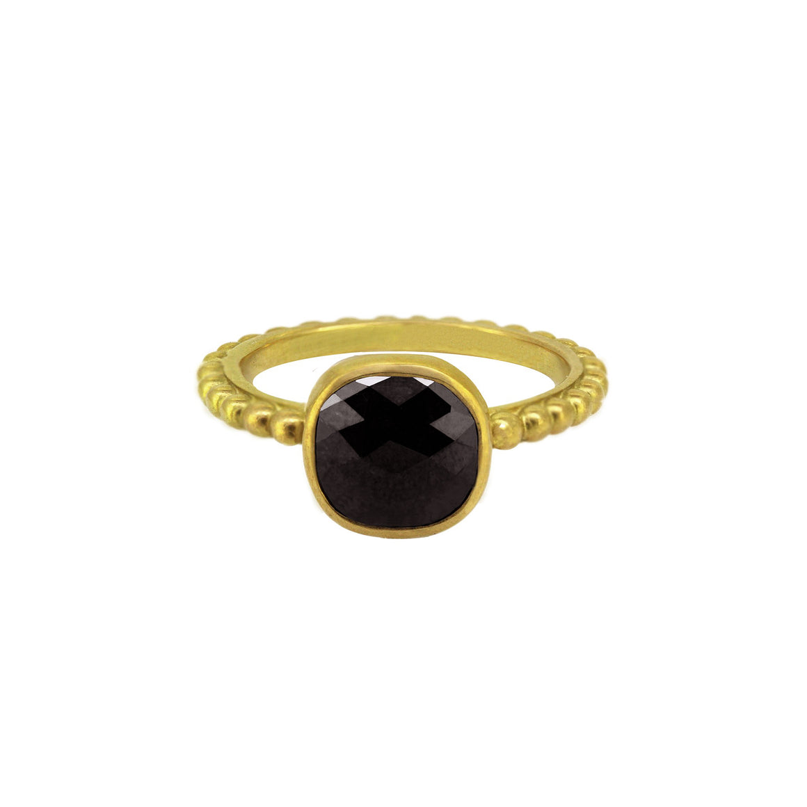 Cabochon cut black diamond stone with checkerboard facets on a Ball band for stacking. yellow gold