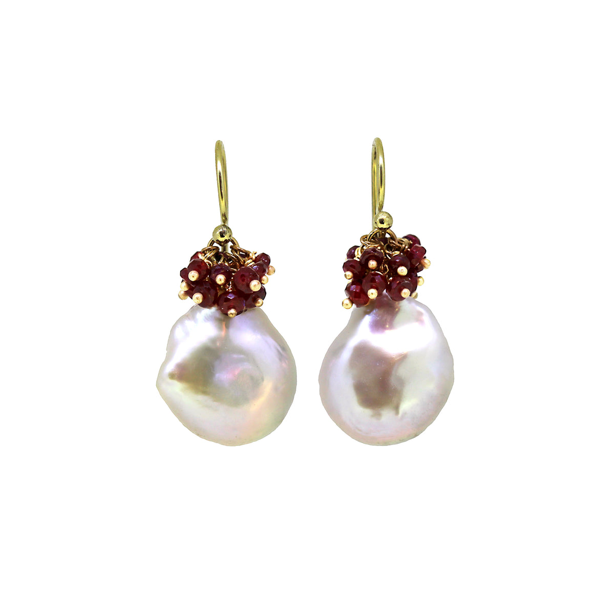 Asymmetrical Baroque Pearl and Ruby Hat Earrings