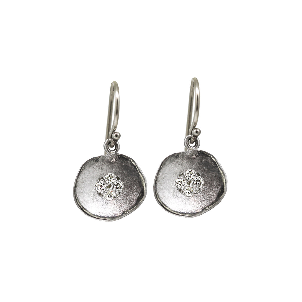 White Gold Diamond Lilypad Earrings