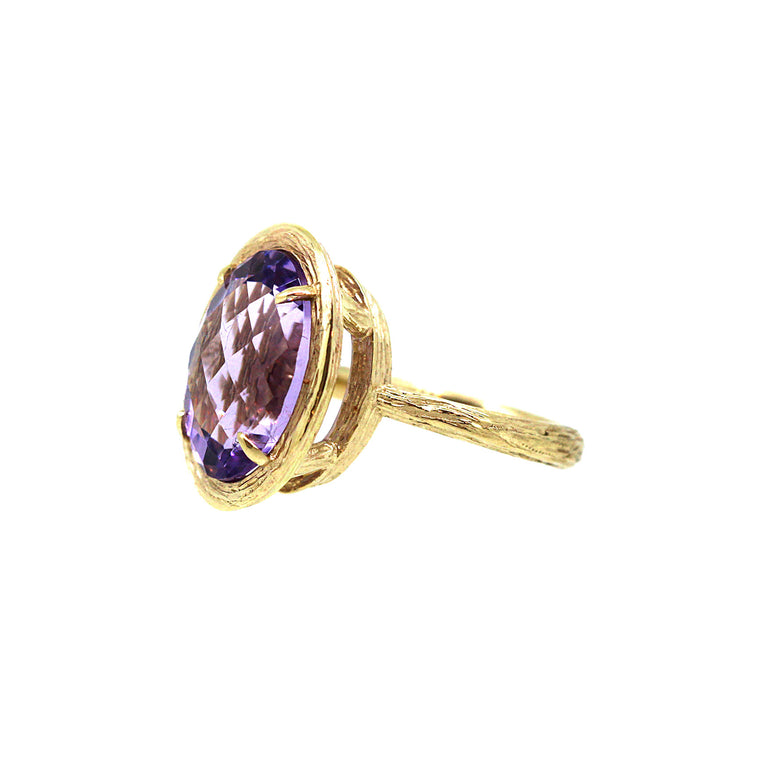 Amethyst Twiggy Basket Ring