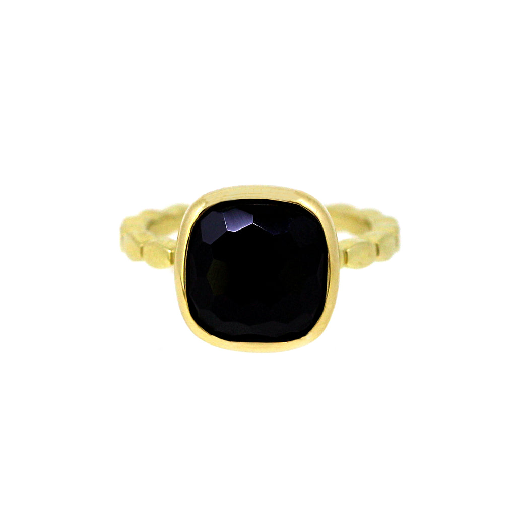 Black Spinel Cabochon Ring