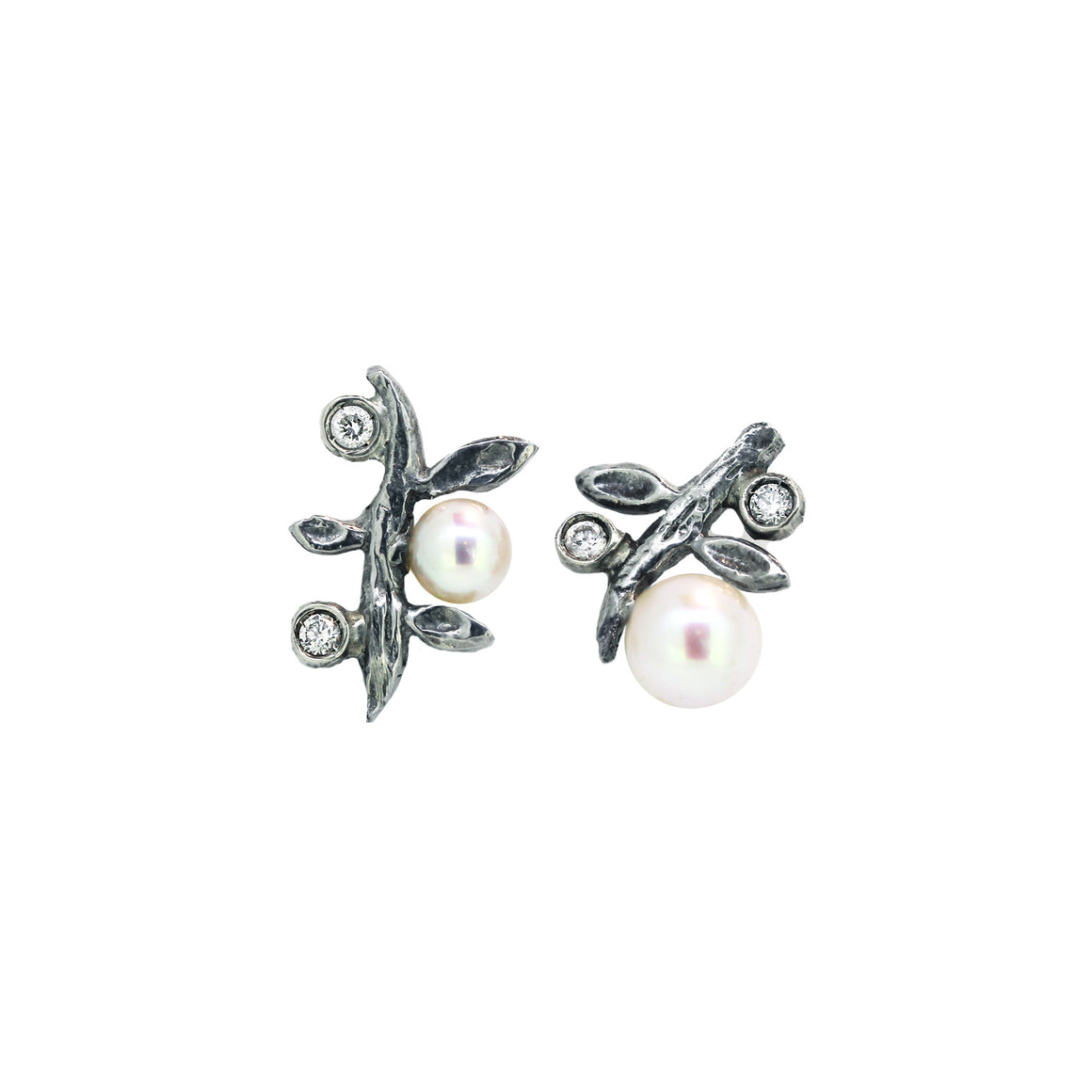 Diamond and Pearl Branch stud earring