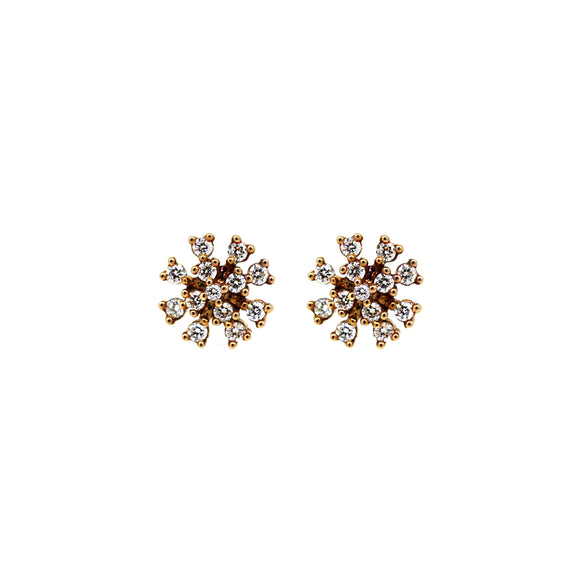 Rose Gold Starburst Diamond Studs