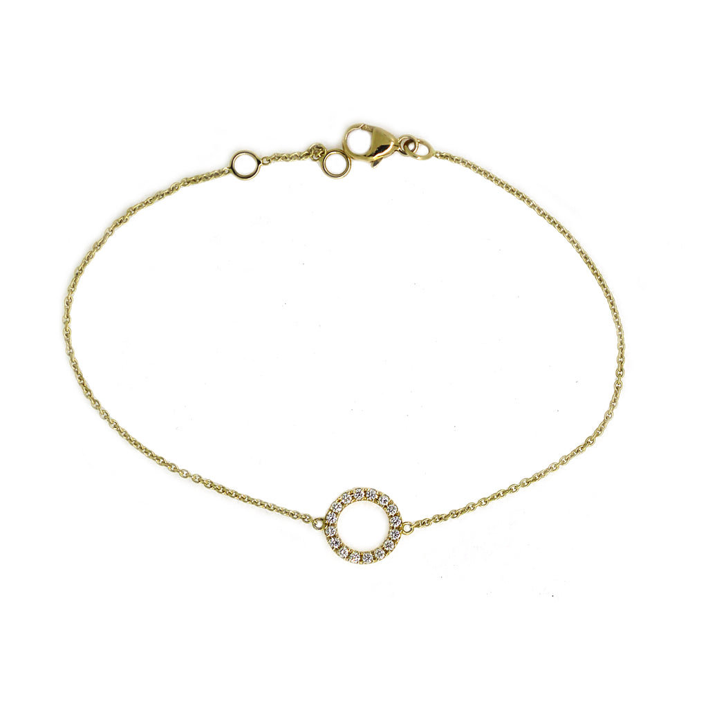 Yellow Gold Diamond Circle Bracelet