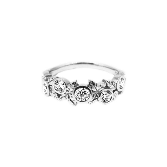 White Gold Diamond Vine Engagement Ring