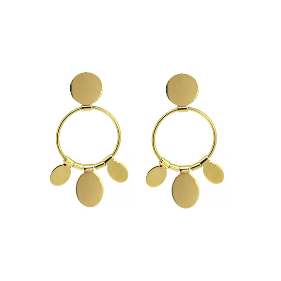 Gold Fanned Disc Earrings