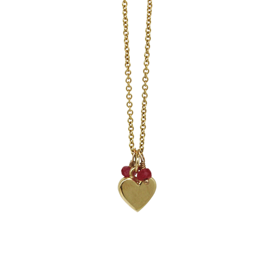 Gold Ruby Heart Pendant