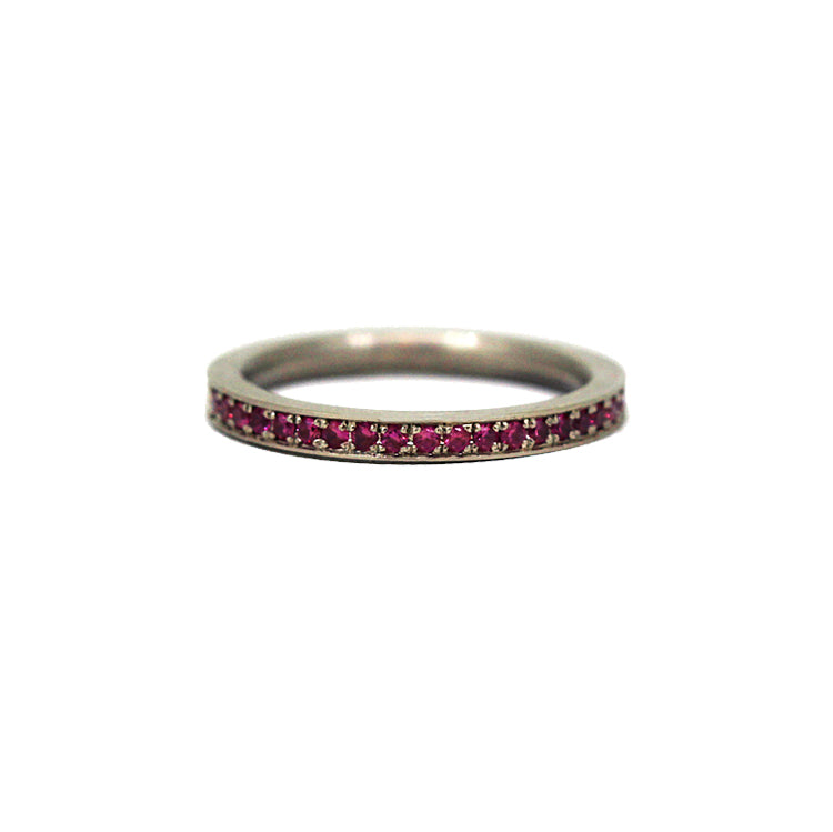 Hot Pink Sapphire Band 18K