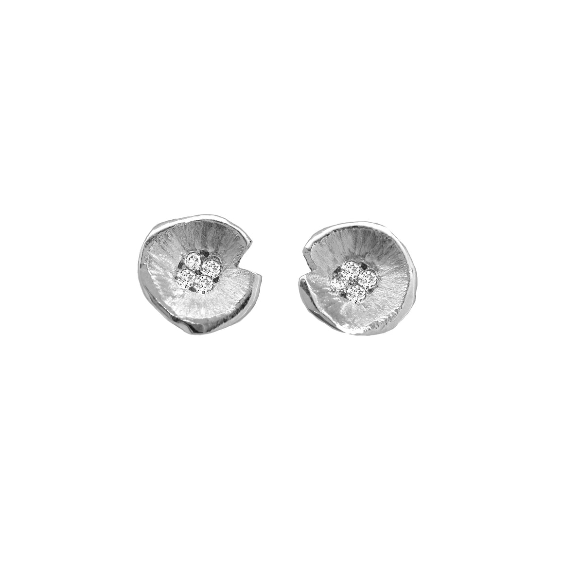 White Gold Diamond Lilypad Stud Earrings