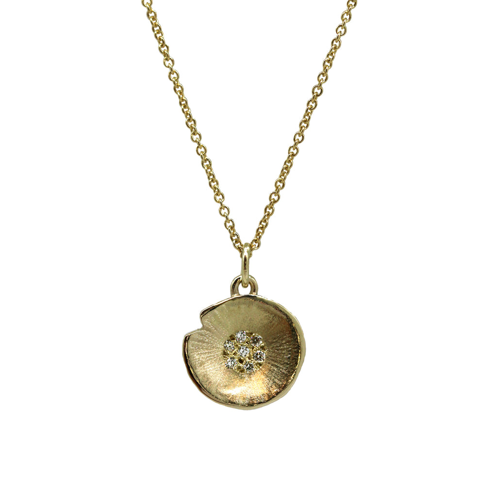Gold Large Lilypad Diamond Pendant