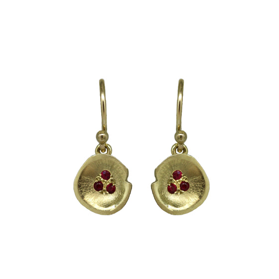 Gold Ruby Lilypad drop earrings