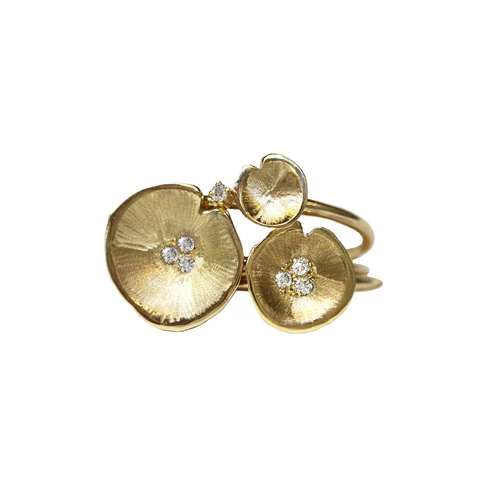 Gold Stack Lilypad Diamond Rings