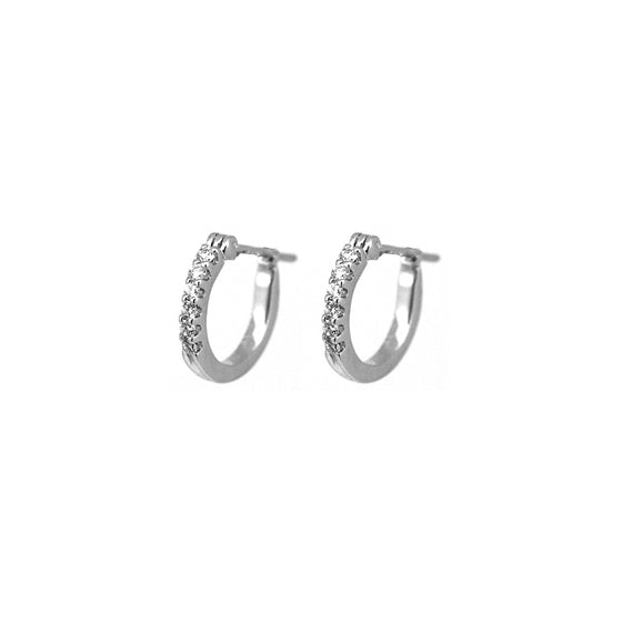White Gold Petite Diamond Hoops