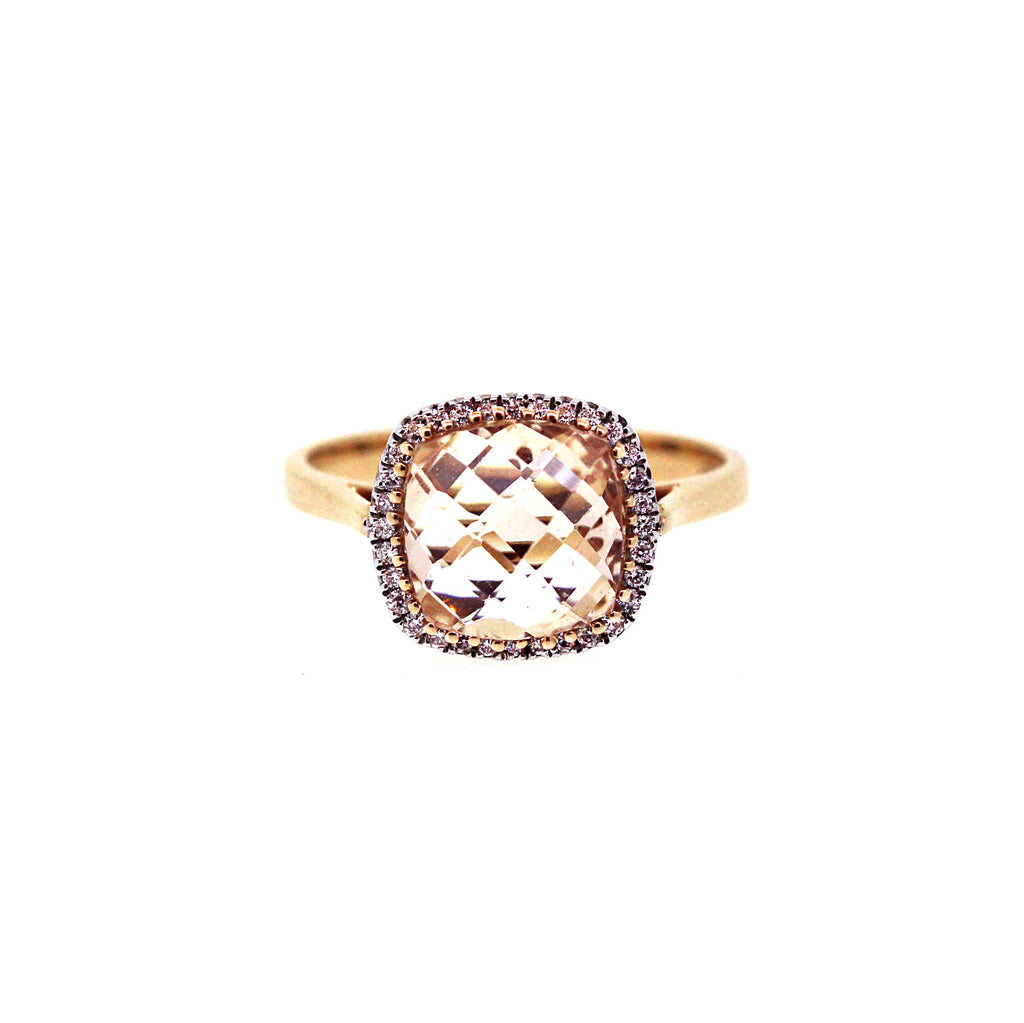 Morganite Halo Cocktail Ring