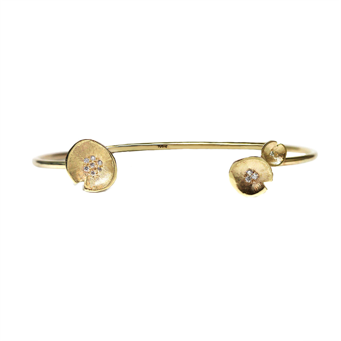 Gold Multi Lilypad Diamond Cuff