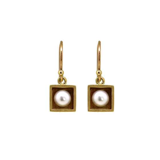 Pearl Box Gold Earrings