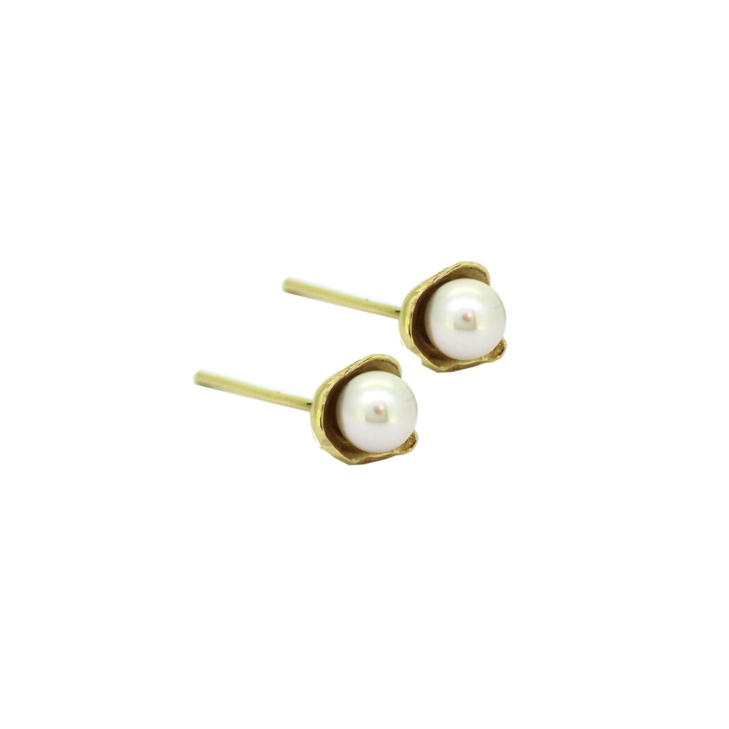 Petite Rockpool Pearl Gold Stud Earrings