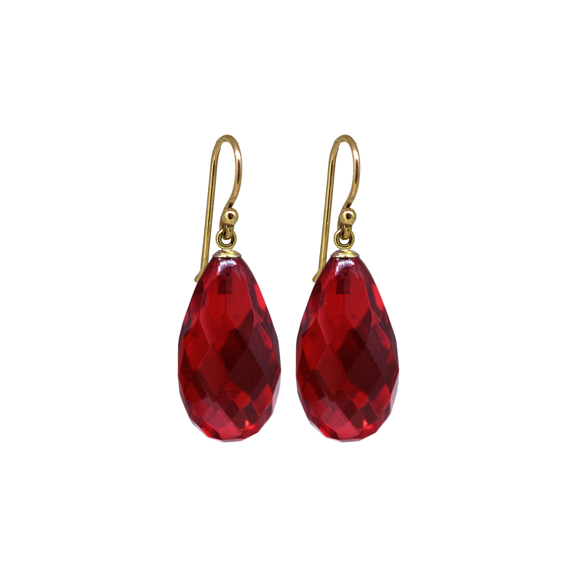 Red Amber drop earrings