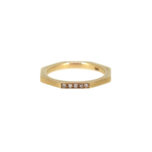 One Side Diamond Octagon Stack Ring 14K