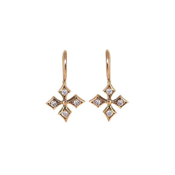 Rose Gold Diamond Snowflake Earrings