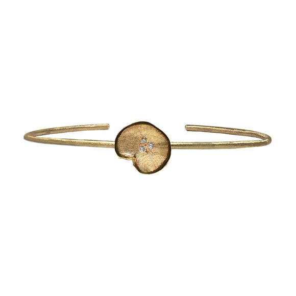 Gold Single Lilypad Diamond Cuff