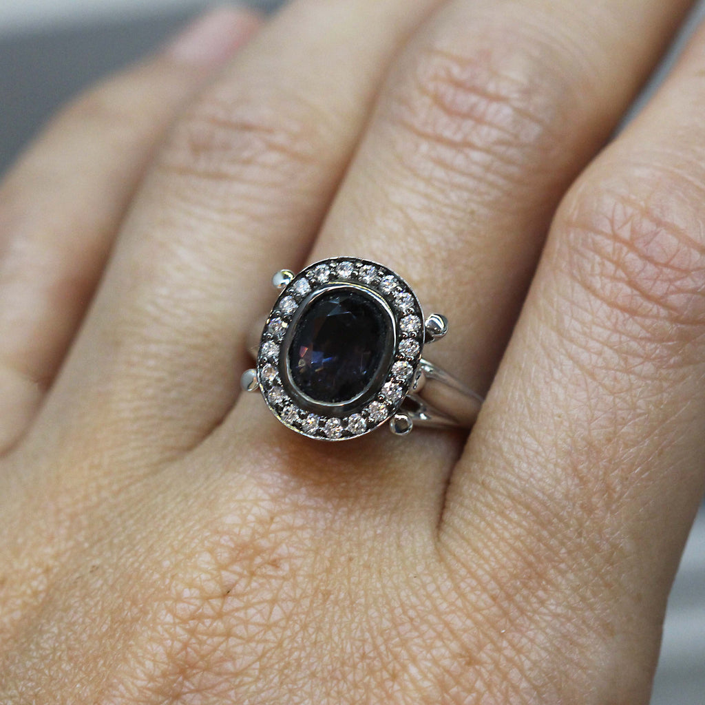 Grey Spinel and Diamond Brooke Ring