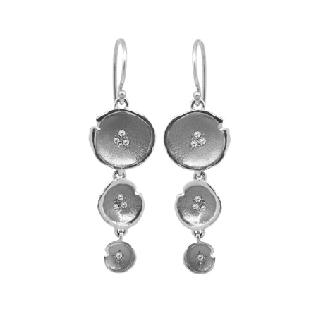 White Gold Diamond Tiered Lilypad Earrings