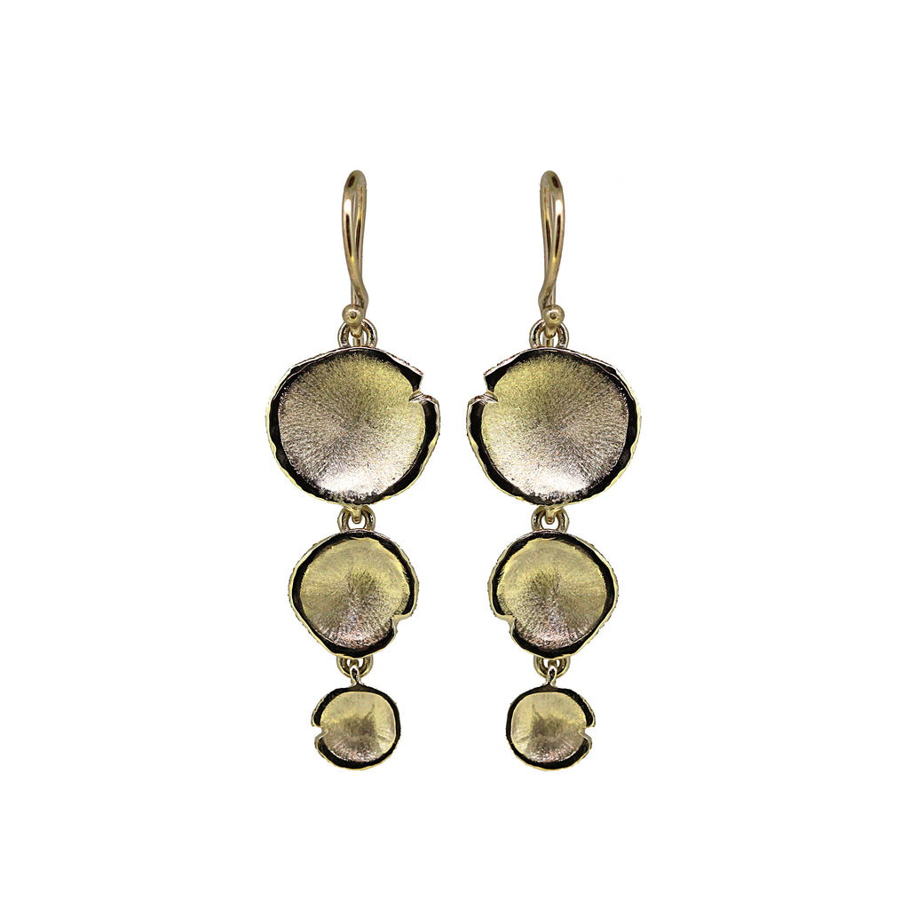 Gold Tiered Lilypad Earrings