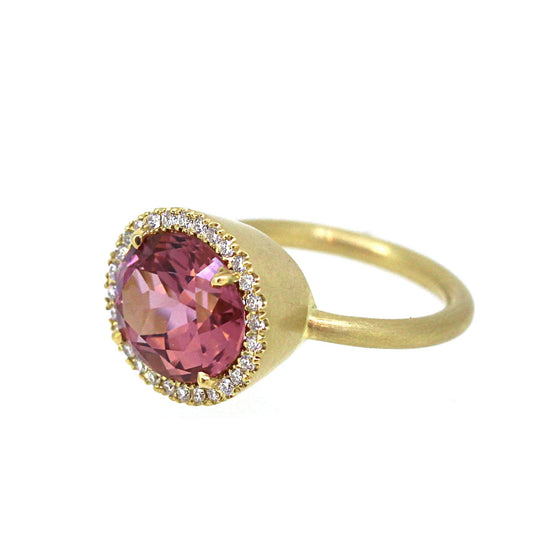 Pink Tourmaline Diamond Halo Ring