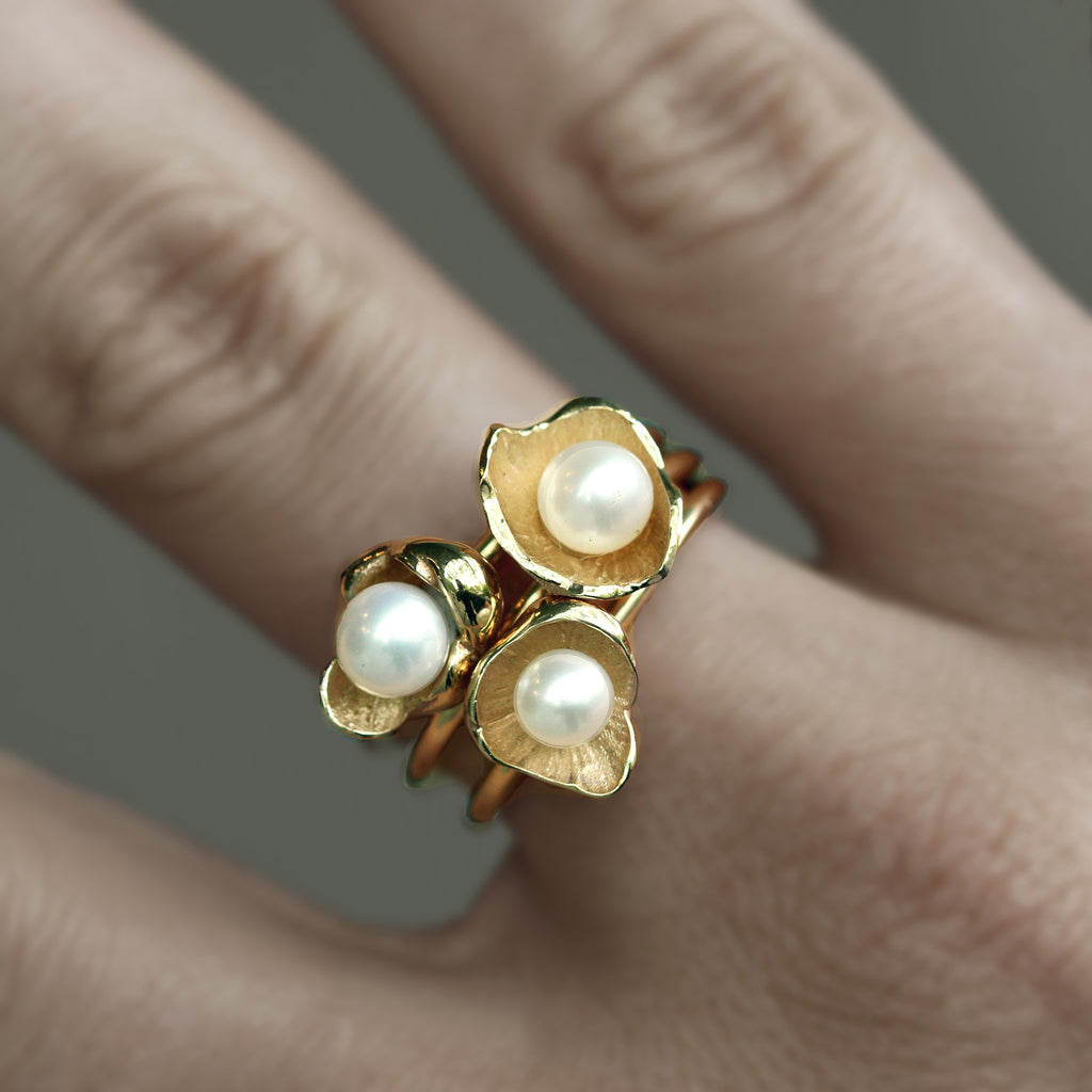 Sunken Treasure Pearl Ring Stack