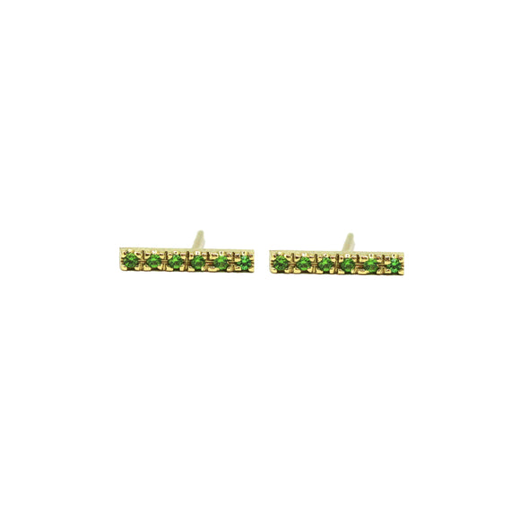 Full Set Tsavorite Gemstone Bar Earrings