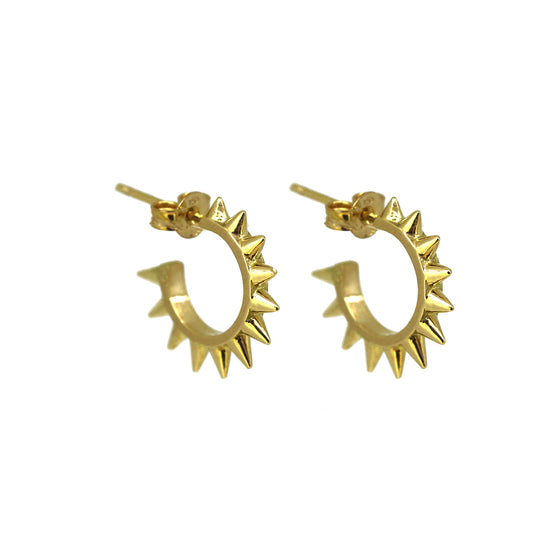 SMALL SPIKEY HOOP EARRINGS IN YELLOW GOLD